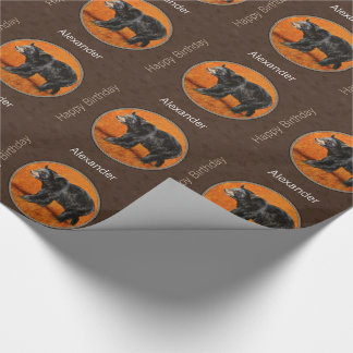 Black Bear Autumn Earth Brown Wrapping Paper