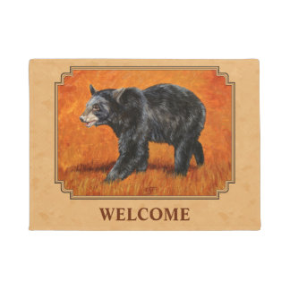 Black Bear Autumn Golden Tan Doormat