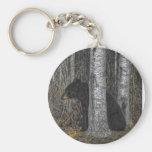 Black Bear Basic Round Button Key Ring