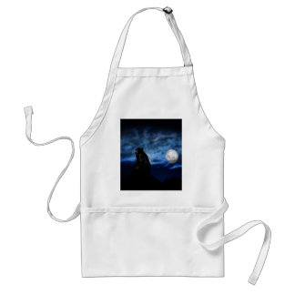 Black bear by moonlight adult apron