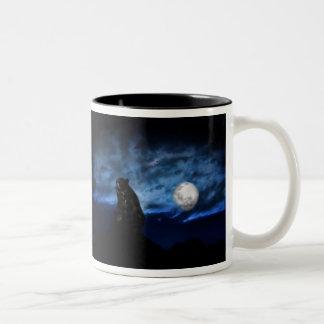 Black bear by moonlight Two-Tone coffee mug