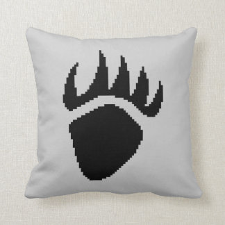 Black Bear Claw Pixel Grey Cushion