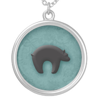 Black Bear in 3D Silver Plated Necklace