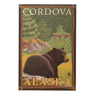 Black Bear in Forest - Cordova, Alaska Wood Wall Decor