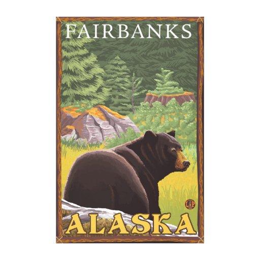 Black Bear in Forest - Fairbanks, Alaska Stretched Canvas Print