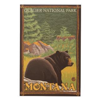 Black Bear in Forest - Glacier National Park, MT Wood Wall Art