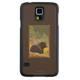 Black Bear in Forest - Idaho Carved Maple Galaxy S5 Case