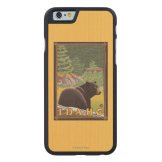 Black Bear in Forest - Idaho Carved® Maple iPhone 6 Slim Case