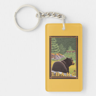 Black Bear in Forest - Idaho Double-Sided Rectangular Acrylic Key Ring