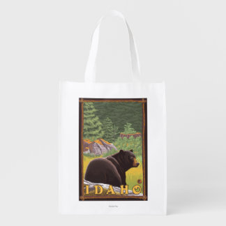 Black Bear in Forest - Idaho Reusable Grocery Bag