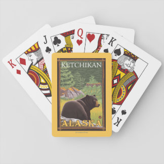 Black Bear in Forest - Ketchikan, Alaska Playing Cards