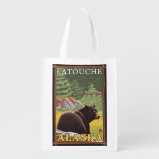 Black Bear in Forest - Latouche, Alaska Reusable Grocery Bag