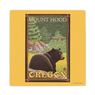 Black Bear in Forest - Mount Hood, Oregon Wood Coaster