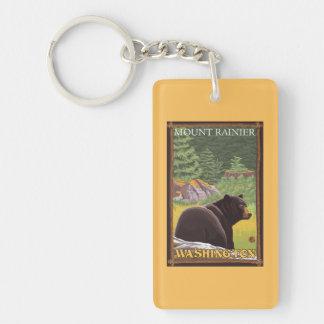 Black Bear in Forest - Mount Rainier, Washington Key Ring