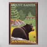 Black Bear in Forest - Mount Rainier, Washington Poster