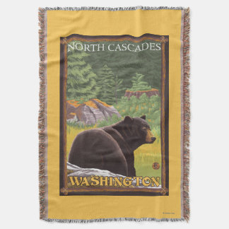 Black Bear in Forest - North Cascades, Washingto Throw Blanket