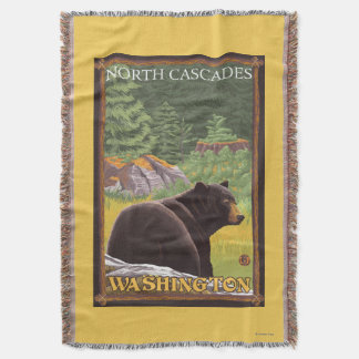 Black Bear in Forest - North Cascades, Washingto Throw Blanket