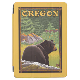 Black Bear in Forest Scene Vintage Travel iPad Air Cover
