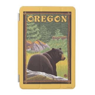 Black Bear in Forest Scene Vintage Travel iPad Mini Cover
