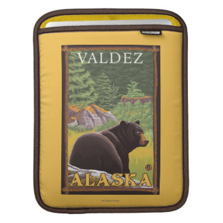 Black Bear in Forest - Valdez, Alaska Sleeve For iPads