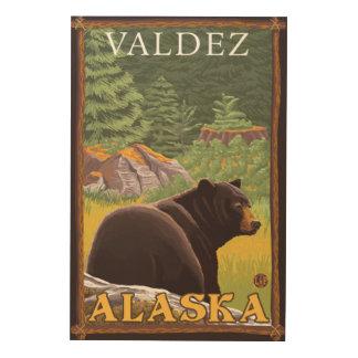Black Bear in Forest - Valdez, Alaska Wood Canvas