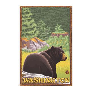 Black Bear in Forest - Washington Canvas Print