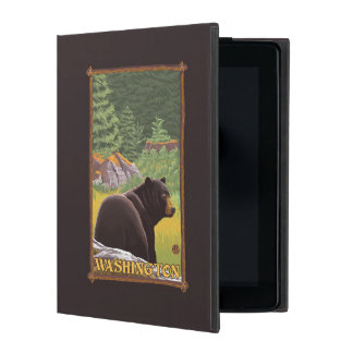Black Bear in Forest - Washington Cover For iPad