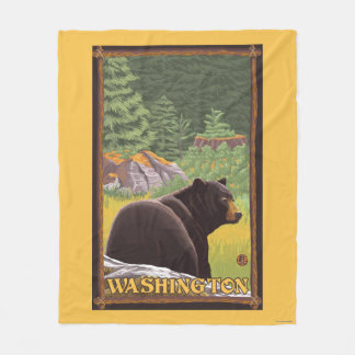 Black Bear in Forest - Washington Fleece Blanket