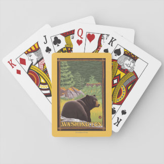 Black Bear in Forest - Washington Playing Cards