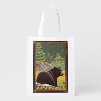 Black Bear in Forest - Washington Reusable Grocery Bag