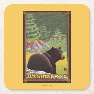 Black Bear in Forest - Washington Square Paper Coaster