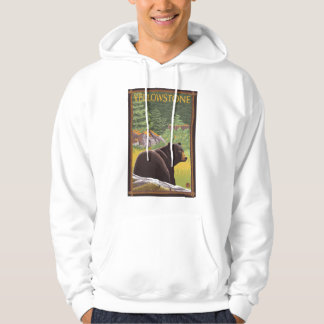 Black Bear in Forest - Yellowstone National Park Hooded Sweatshirt