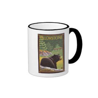 Black Bear in Forest - Yellowstone National Park Ringer Mug