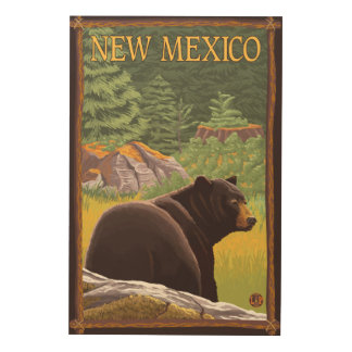 Black Bear in ForestNew Mexico Wood Wall Art
