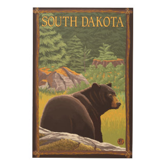 Black Bear in ForestSouth Dakota Wood Wall Decor