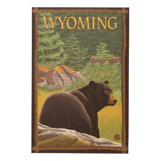 Black Bear in ForestWyoming Wood Wall Art