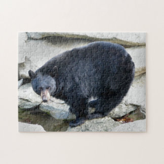 Black Bear on Rocks Design Jigsaw Puzzle