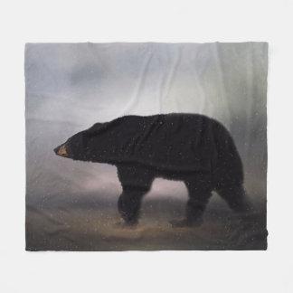 Black Bear Painting Fleece Blanket