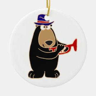Black Bear Playing Red Trumpet Round Ceramic Decoration