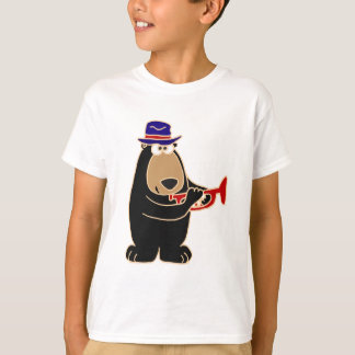 Black Bear Playing Red Trumpet T-Shirt