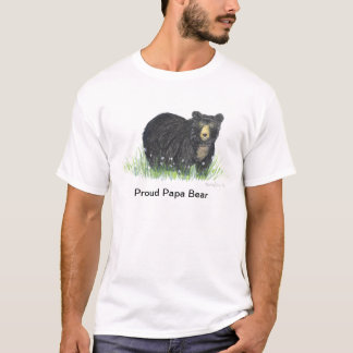 Black bear, Proud papa bear new dad T shirt