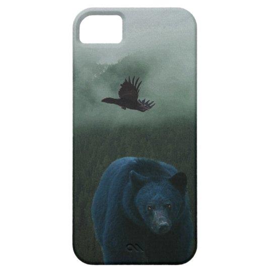 Black Bear & Raven & Misty Mountain Wildlife Theme Case For The iPhone 5