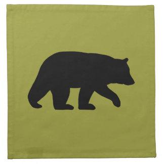 Black Bear Silhouette - Customizable Color Napkin