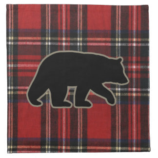 Black Bear Silhouette on Red Plaid Napkin