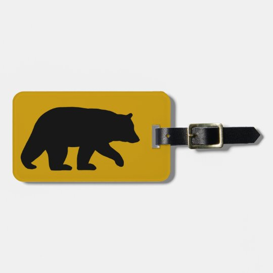 Black Bear Silhouette with Customisable Text Luggage Tag