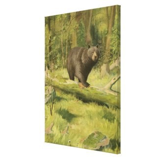 Black Bear Stepping on a Tree Trunk Canvas Print
