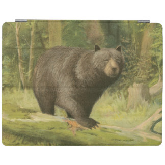 Black Bear Stepping on a Tree Trunk iPad Cover