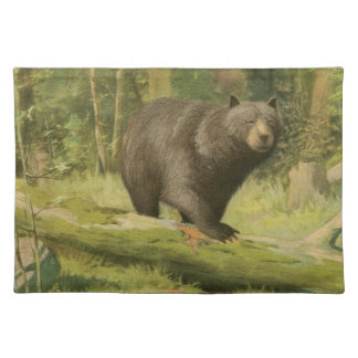 Black Bear Stepping on a Tree Trunk Placemat