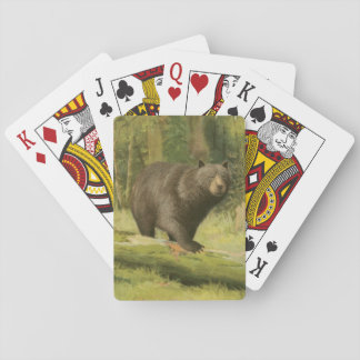 Black Bear Stepping on a Tree Trunk Playing Cards