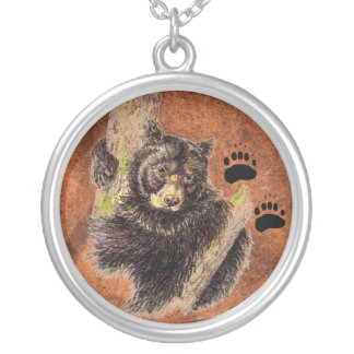 Black Bear & Tracks - Animal  - Nature Silver Plated Necklace